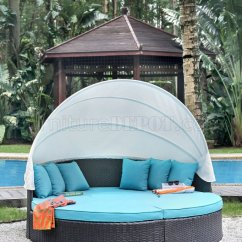 Aria Fabric Modern Sectional Sofa Set Mandaue Foam Sofas Cm-os2117-25 Outdoor Patio Daybed In Turquoise W/awning