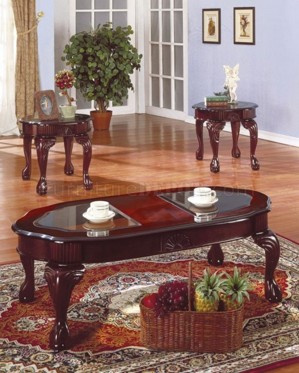 Rich Cherry Traditional 3pc Coffee Table Set Withglass Inserts