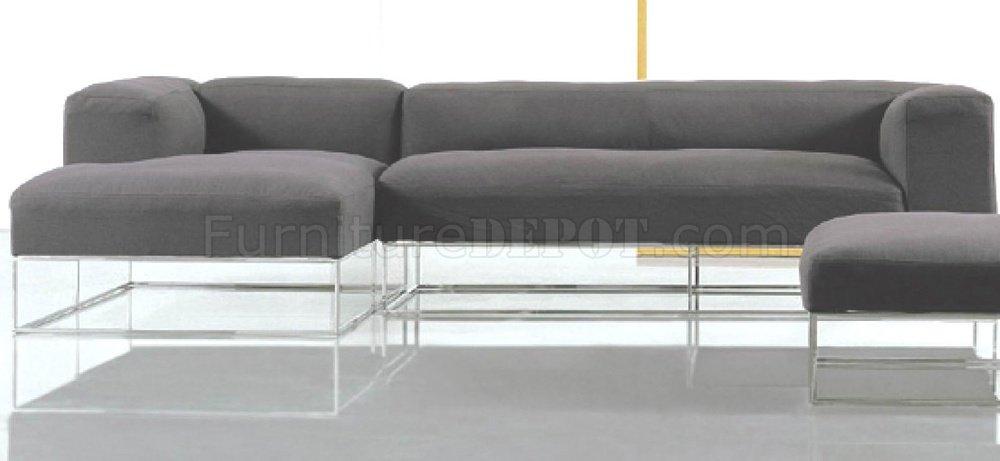 steel frame sofa charcoal grey velvet black fabric modern sectional w high polished metal