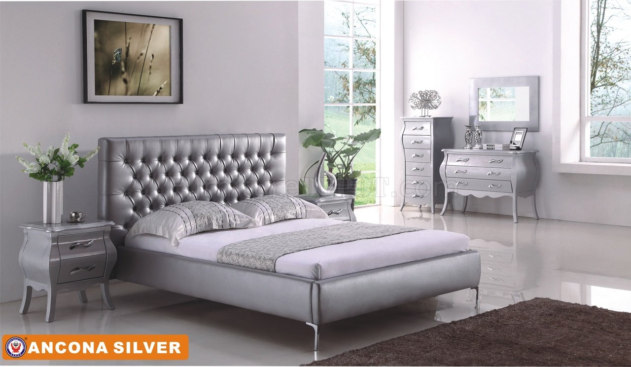 grey living room furniture set microfiber sets ancona bedroom in silver tone by american eagle w/options