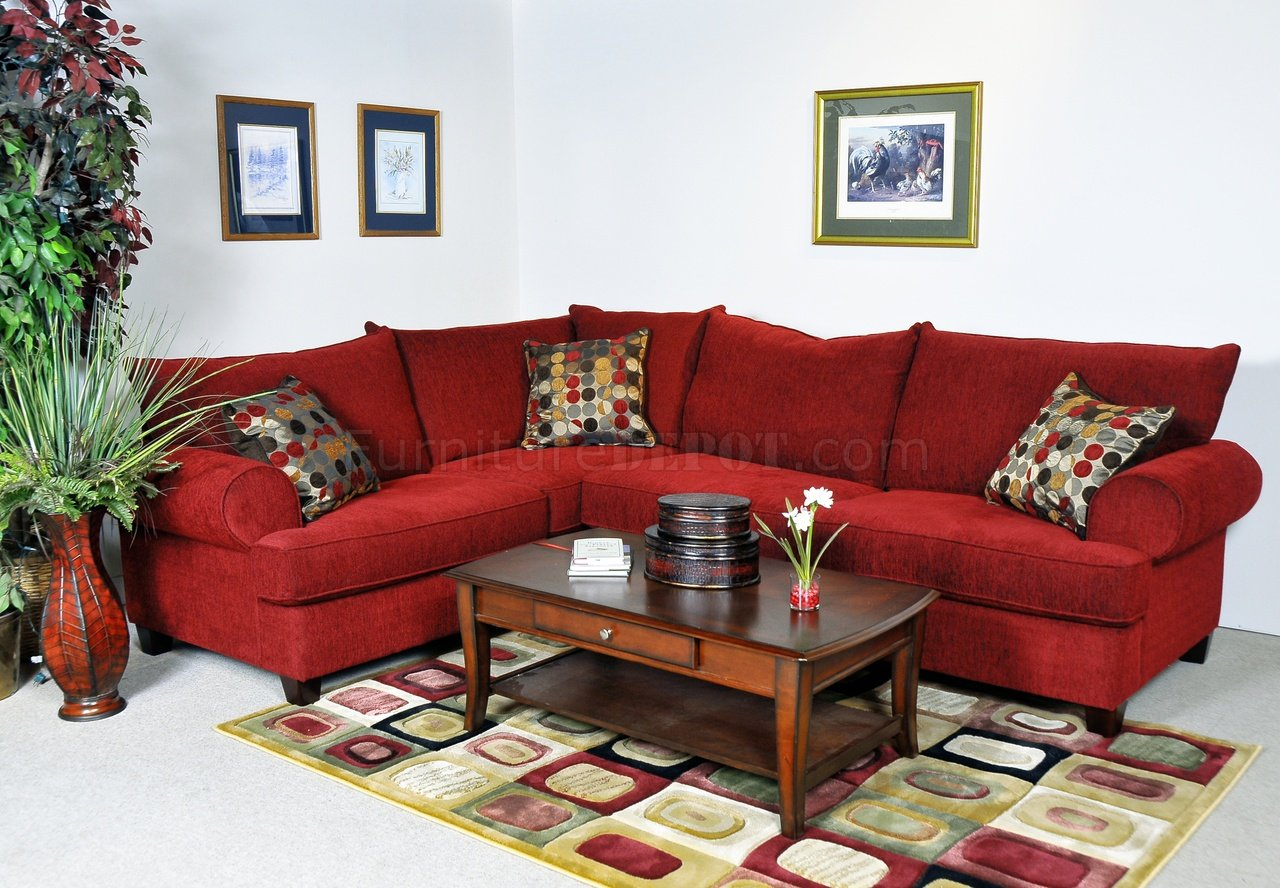 red fabric contemporary sectional sofa