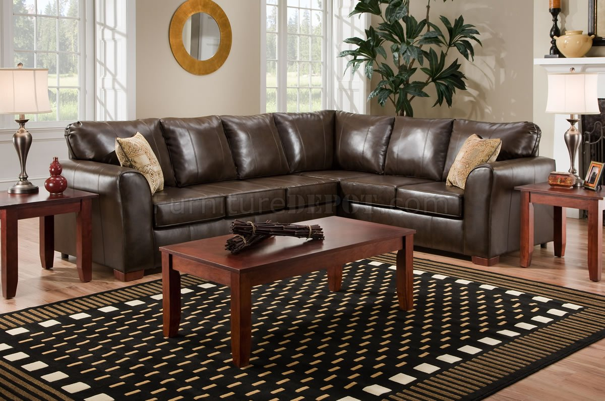 Brown Bentley Bonded Leather Modern Sectional Sofa WOptions