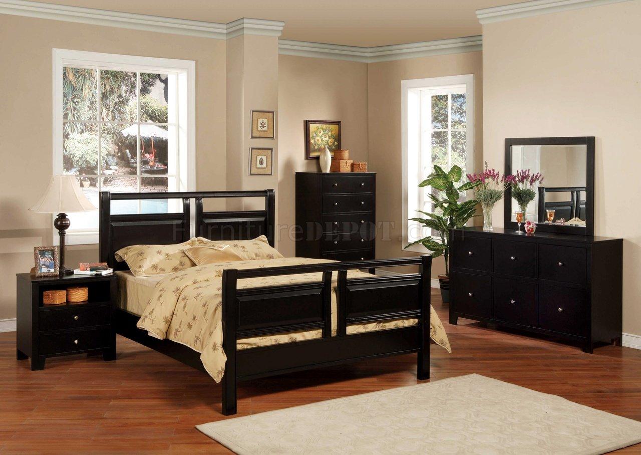 black finish modern 5pc bedroom set w