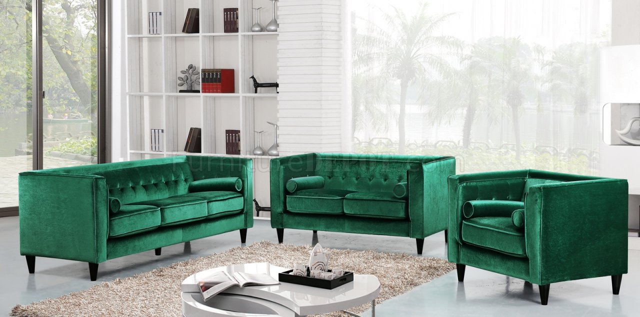 Taylor Sofa 642 in Green Velvet Fabric wOptional Items