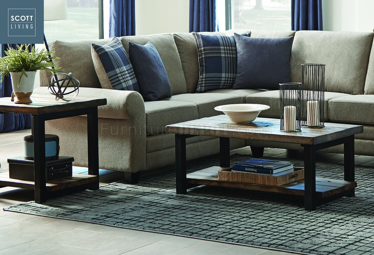 brown fabric sofa capris 705678 - scott living coaster rustic coffee table