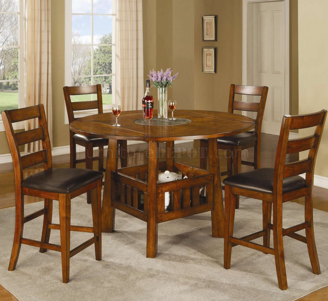 Dark Oak Finish Traditional Counter Height 5Pc Dining Set