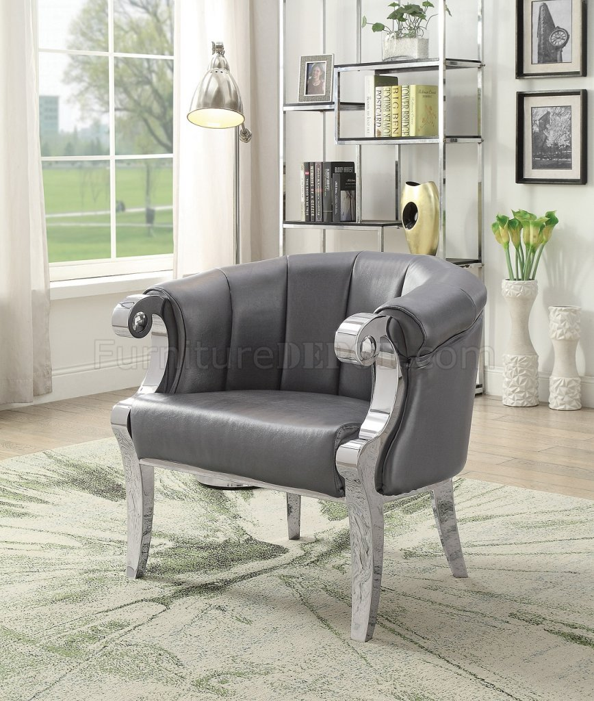 2 Pc Set of Accent Chairs 903384 in Grey Leatherette by