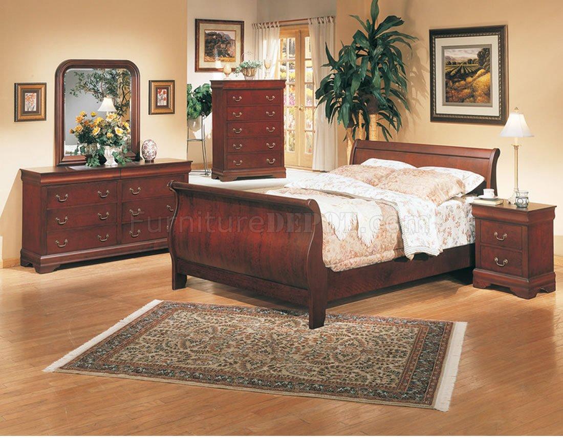Classic Deep Cherry Finish Elegant 5Pc Bedroom Set w