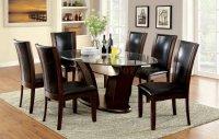 Manhattan Dining Room CM3710OT 7Pc Set in Dark Cherry & Brown