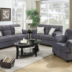 Almafi 2 Piece Leather Sofa Set And Love Seat Adjustable Bed F7916 Loveseat Chair In Grey Fabric By Poundex