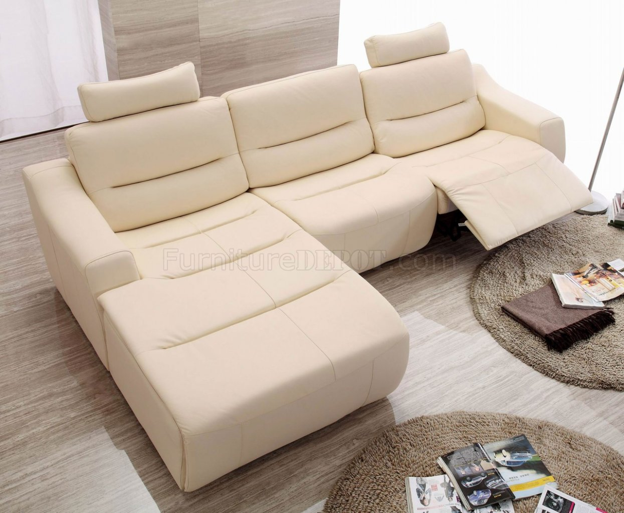 off white leather 2143 modern reclining