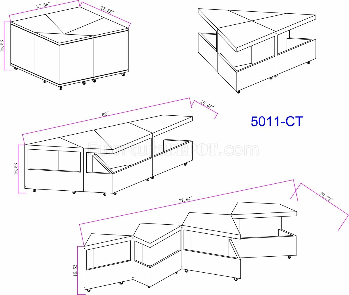 Expandable Coffee Table In White By Chintaly W Options