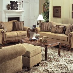 Tan Sofa And Loveseat Black Leather Chairs Fabric Traditional Set W Throw Pillows