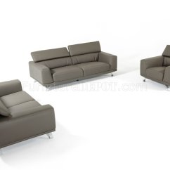 3pc Recliner Sofa Set Dwell Studio Brustle 8334 In Dark Grey Eco Leather By Vig