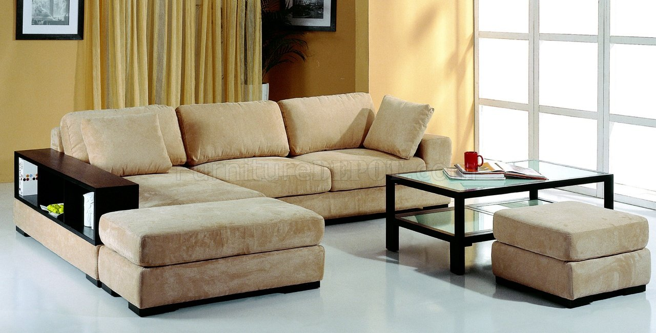 brown leather and fabric sectional sofa elegant sofas chairs beige microfiber w/2 ottomans & bookcase