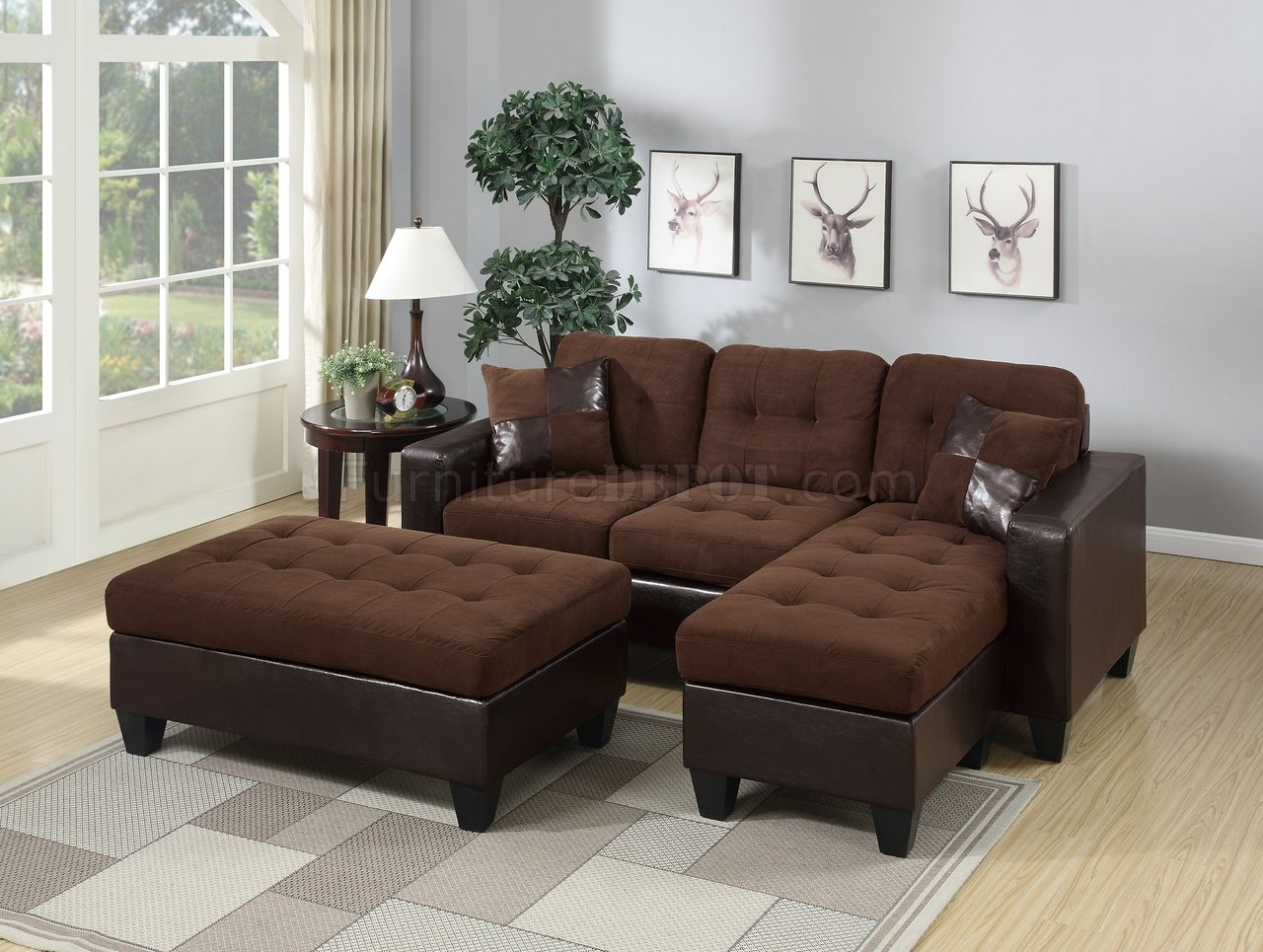 sectional sofas microfiber fabric viesso mota sofa f6928 in chocolate by boss