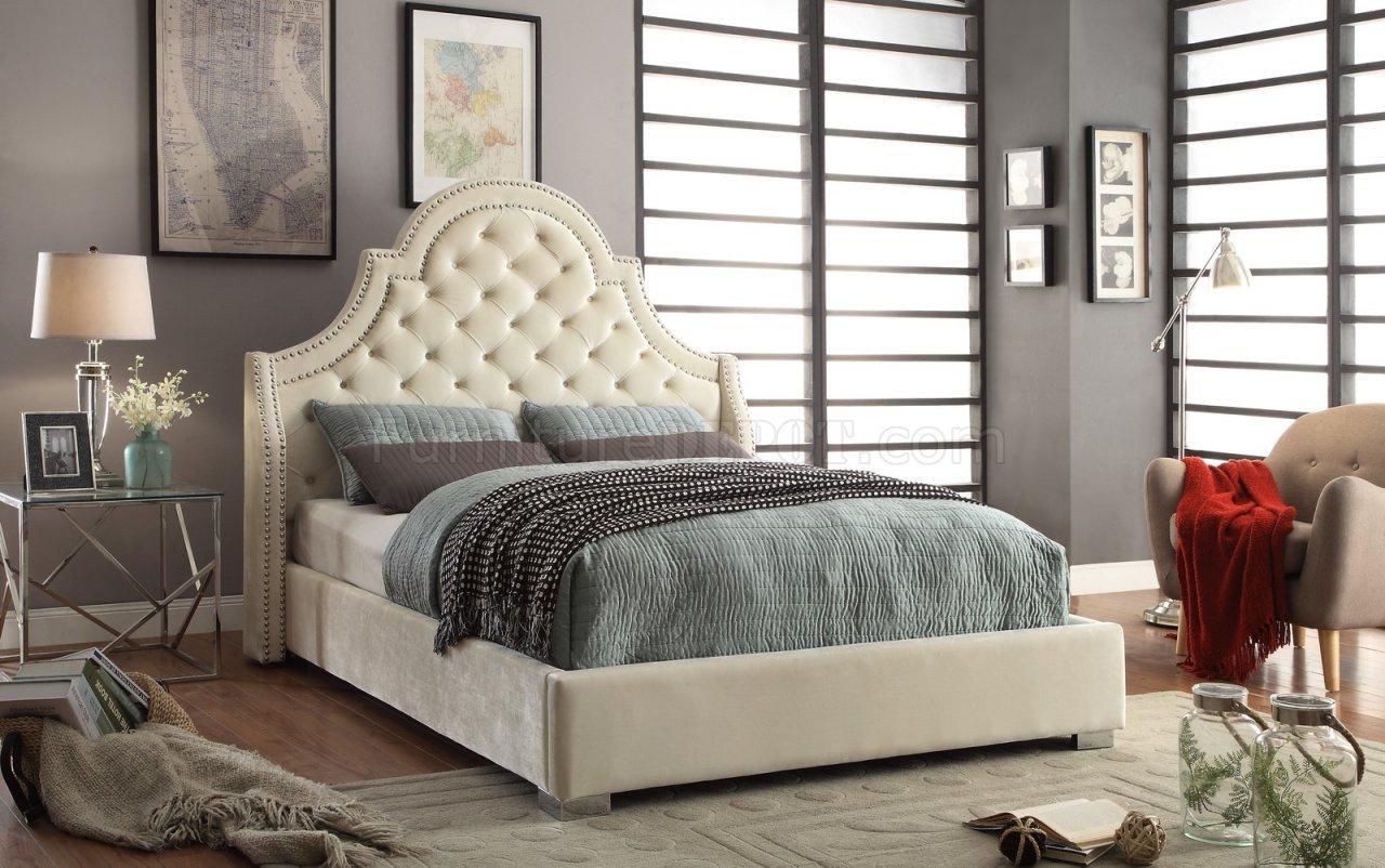 Madison Upholstered Bed in Cream Velvet Fabric wOptions