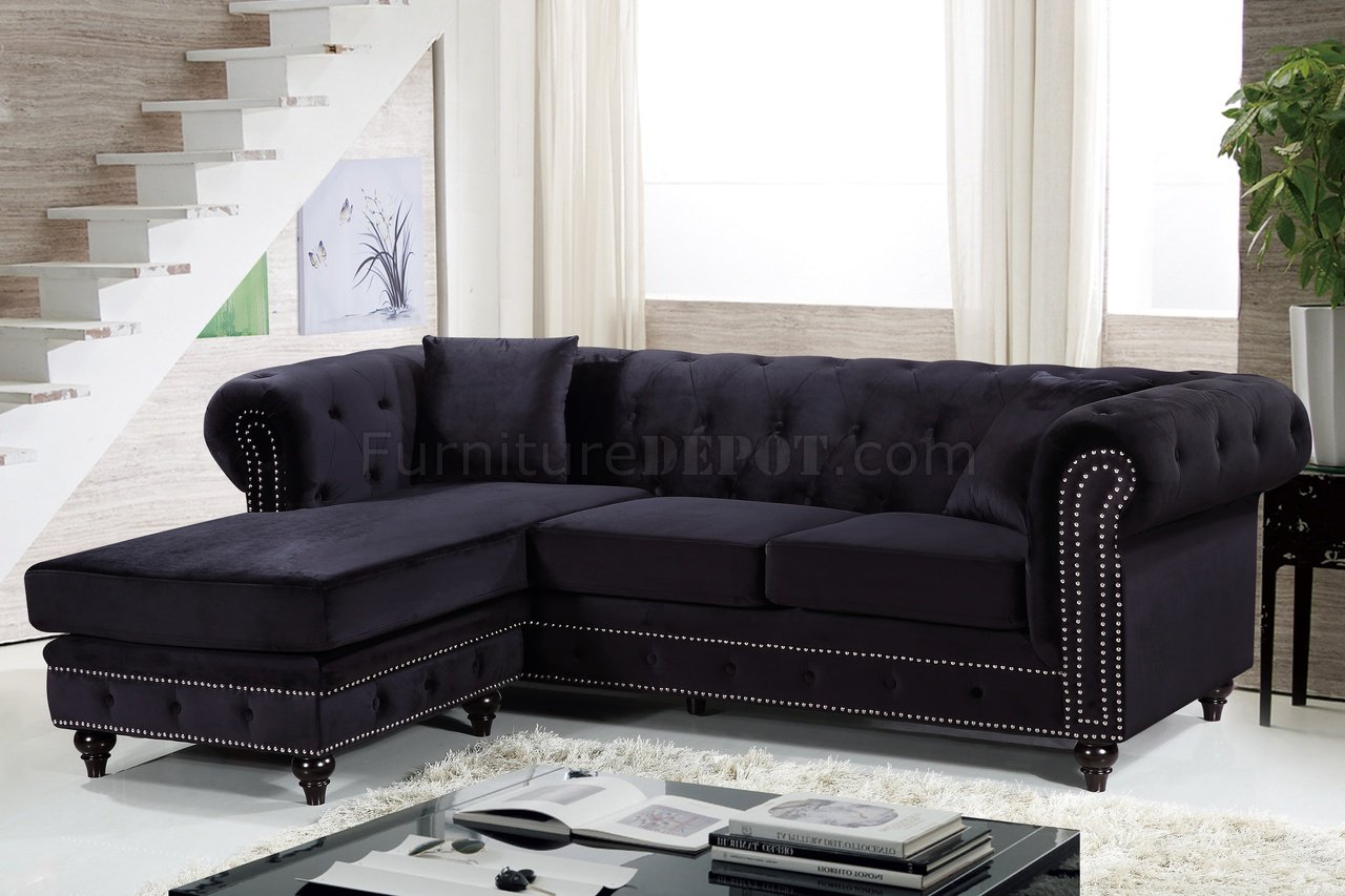 sabrina sofa two seat slipcover sectional 667 in black velvet fabric by meridian