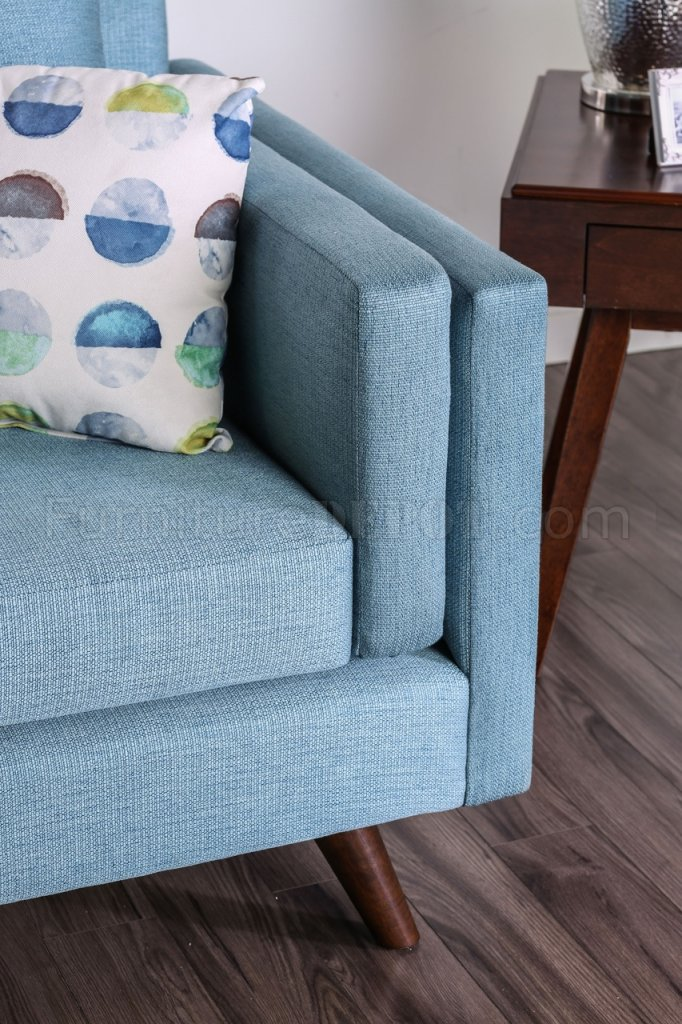 the living room with sky bar best inexpensive furniture genna sofa sm8820 in blue linen-like fabric