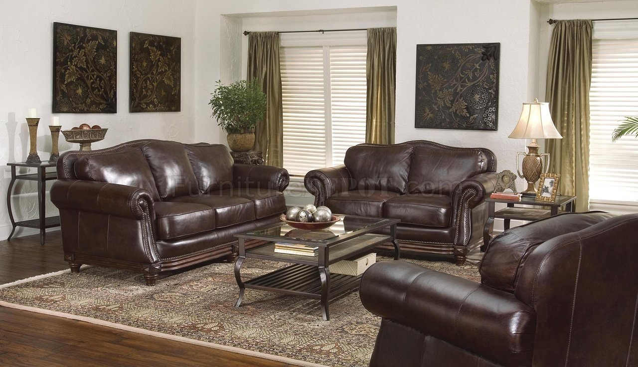 Dark Brown Leather Traditional Living Room wNail Head Trim