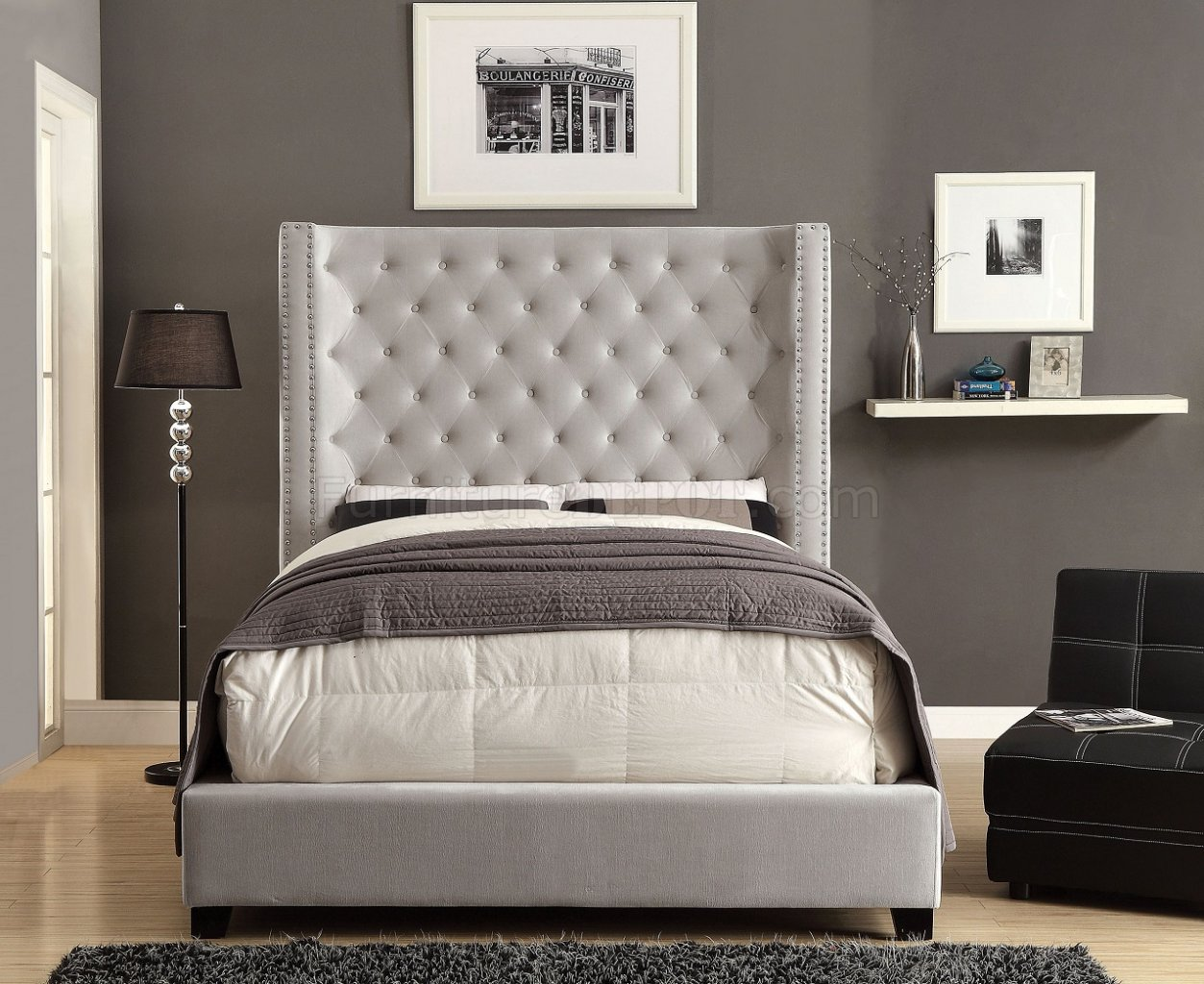 Mirabelle CM7679IV Upholstered Bed in Ivory Flannelette