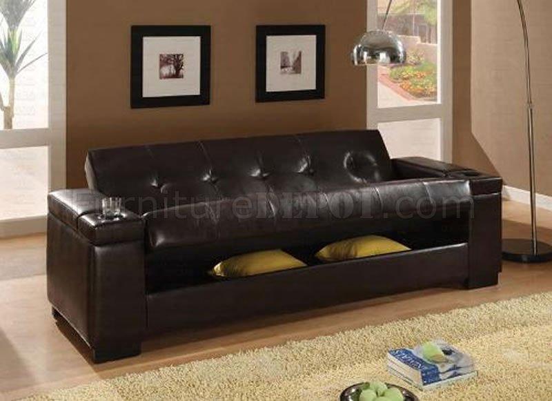 Dark Brown Vinyl Contemporary Sofa Bed wHidden Storage