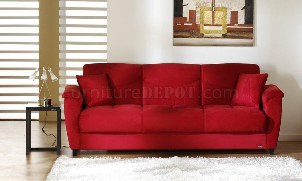 sofa microfiber fabric copenhagen living bed red room storage sleeper