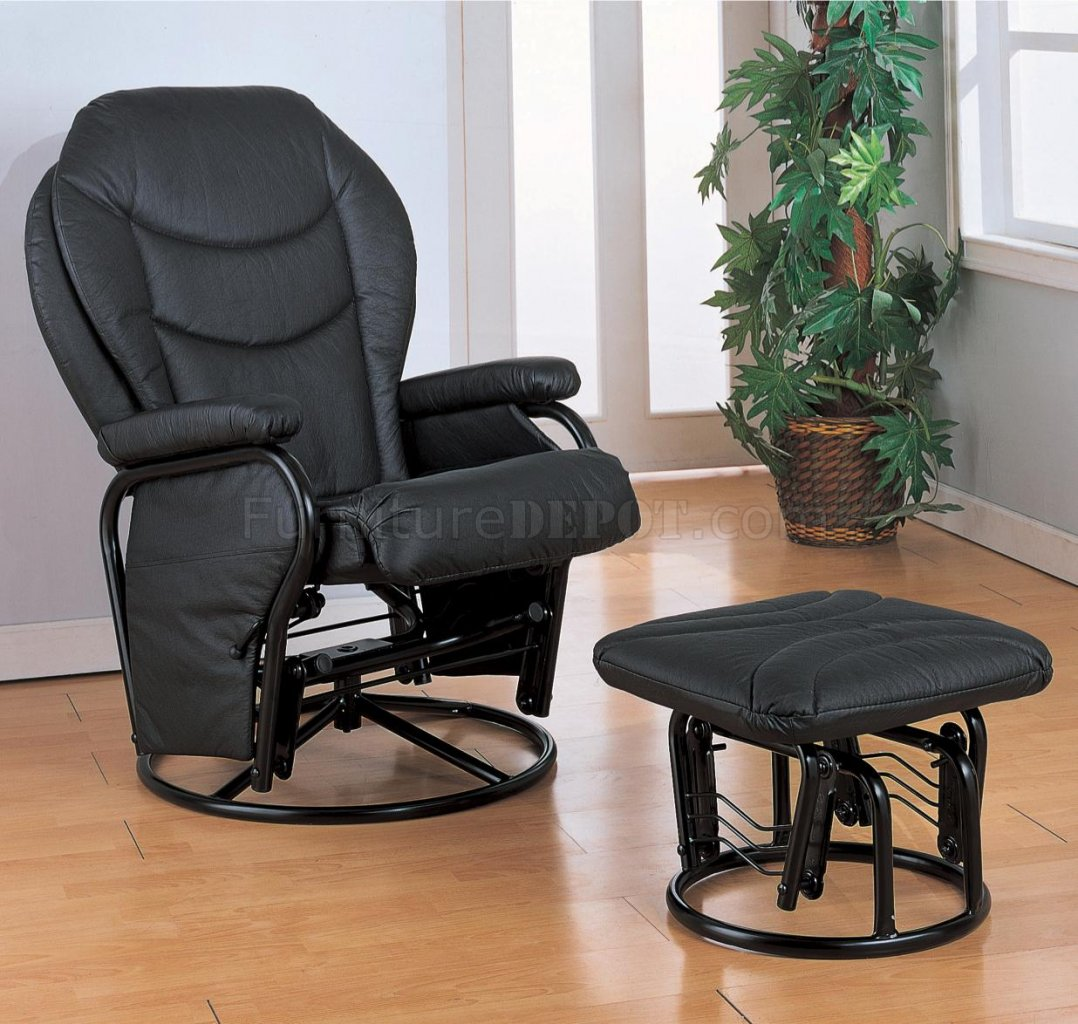 how to recover glider rocking chair cushions buy beach chairs black leatherette cushion reclining rocker w ottoman
