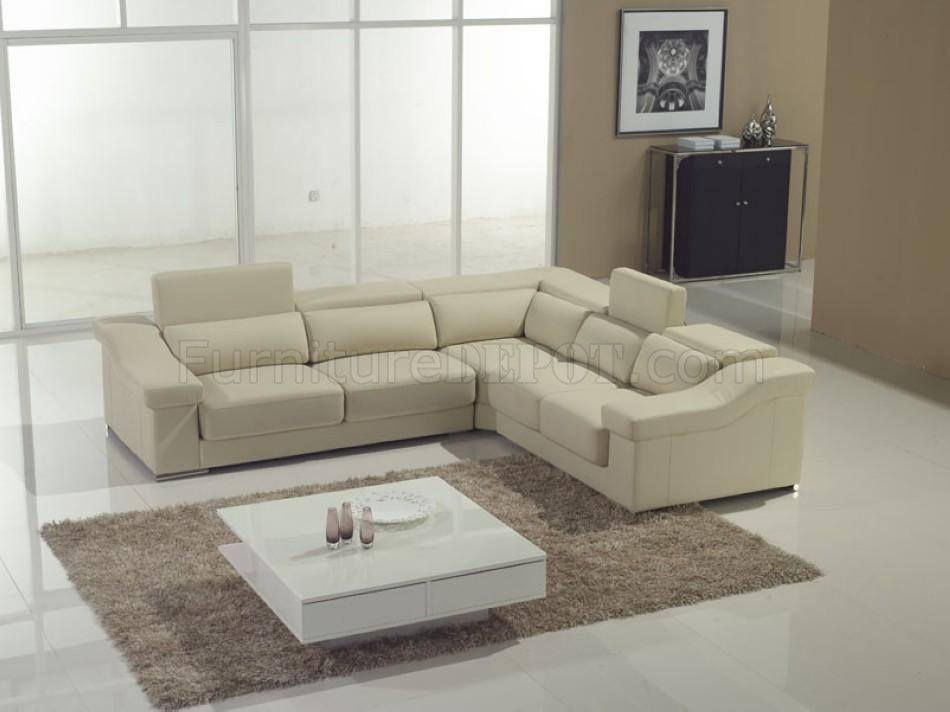 cream full leather chaise sectional sofa dual okin power reclining modern w adjustable headrests