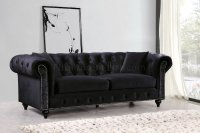 Chesterfield Sofa 662BL in Black Velvet Fabric w/Optional ...