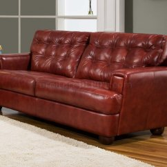 Leather Tufted Chair And Ottoman White Lounge Burgundy Top Grain Modern Sofa W/options