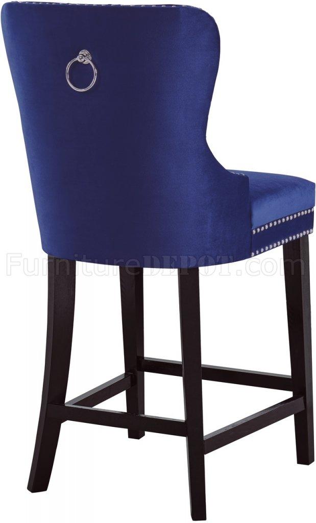 baby height chair blue velvet nikki stool 741 set of 2 in navy fabric by meridian