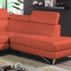 Orange Fabric Sectional Sofa Masoli And Loveseat 4026 In Sateen Microfiber