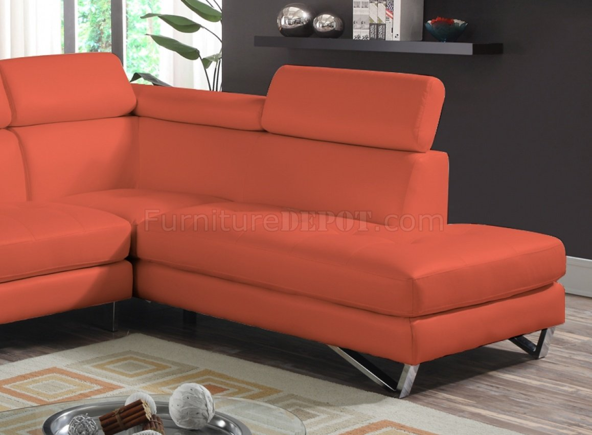 sectional sofas microfiber fabric primitive and chairs 4026 sofa in orange sateen