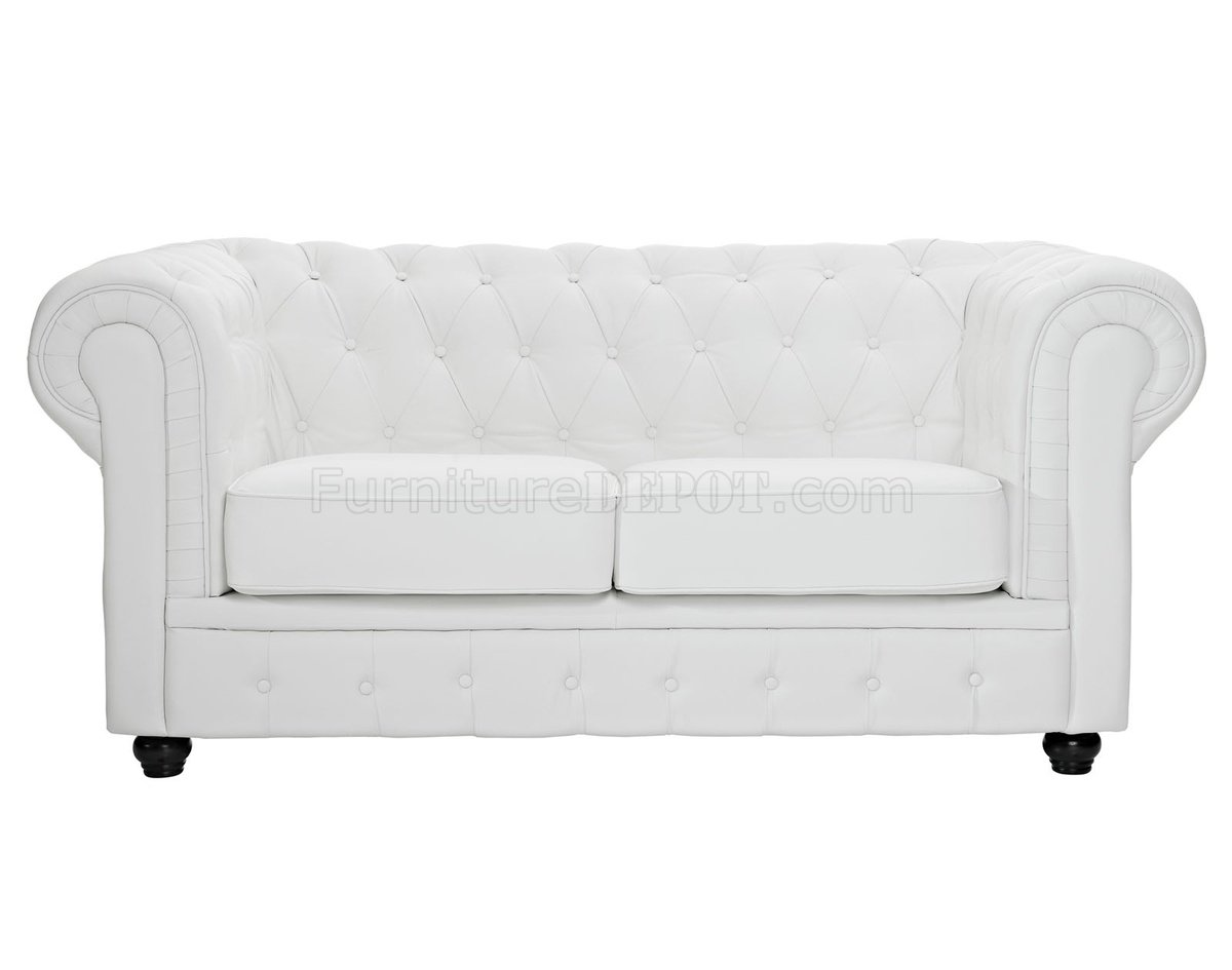 chesterfield sofa leather white chair ottoman set in by modway w options