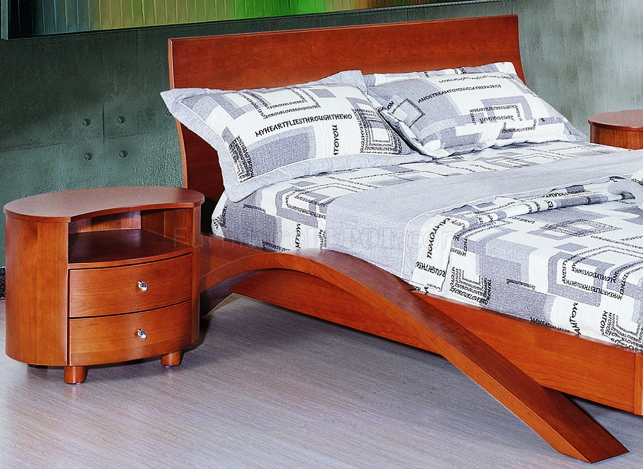 Cherry Finish Contemporary Bedroom With Half