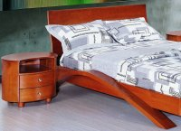 Cherry Finish Contemporary Bedroom With Half-Moon Shape Legs