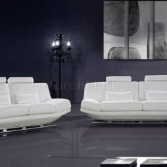 Modern Leather Living Room Sets New Color For 2016 Full Italian 3pc Set Viper White 0670