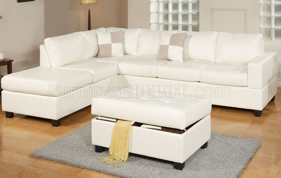cream sectional sofa fabric outdoor glider cushions f7354 modern in bonded leather by poundex