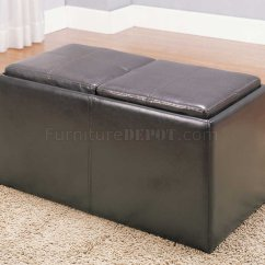Chocolate Brown Leather Sectional Sofa With 2 Storage Ottomans Small Es Configurable Amazon Claire 469pu Ottoman By Homelegance W Stools Trays
