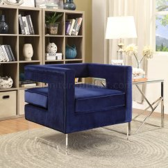 Navy Blue Velvet Club Chair Lifetime Stacking Chairs 2830 Black Molded Seat Carson 502 Accent In Fabric W/acrylic Legs