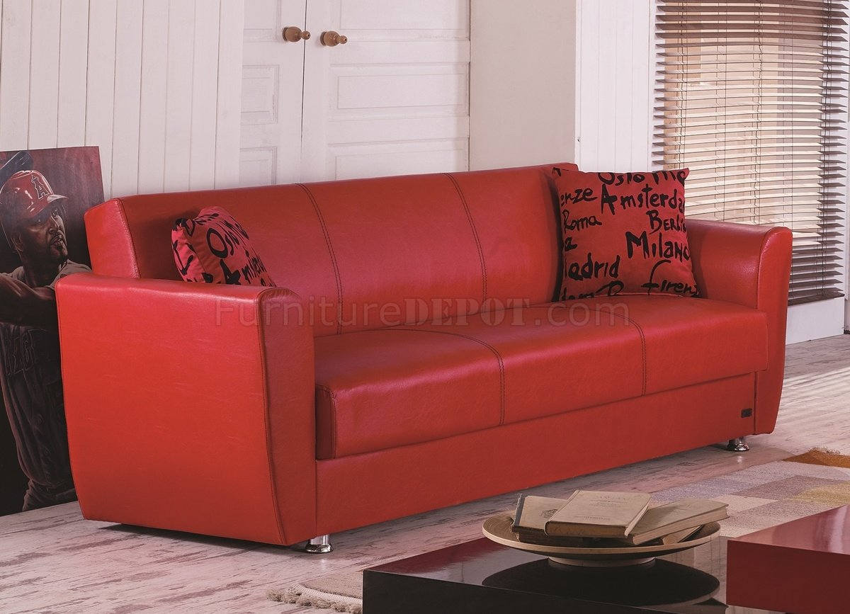 sofa bed dallas 8 foot in red leatherette w optional loveseat