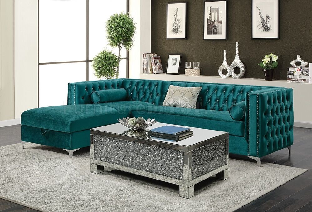 Bellaire Sectional Sofa 508380 in Teal Velvet Fabric by