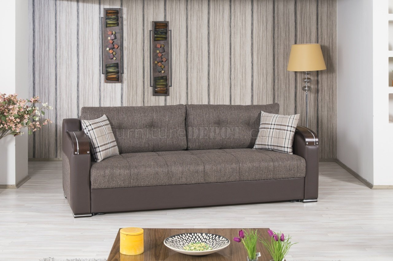 modern leather living room sets cafe by eplus tokyo divan deluxe sofa bed in brown fabric casamode w/options