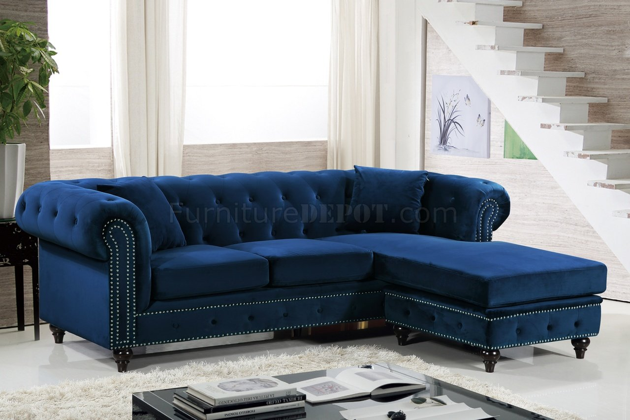 sabrina sofa classic modern sectional 667 in navy velvet fabric by meridian