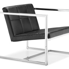 Modern Chairs Resin Folding Black Or White Leatherette Chair W Chrome Steel Frame
