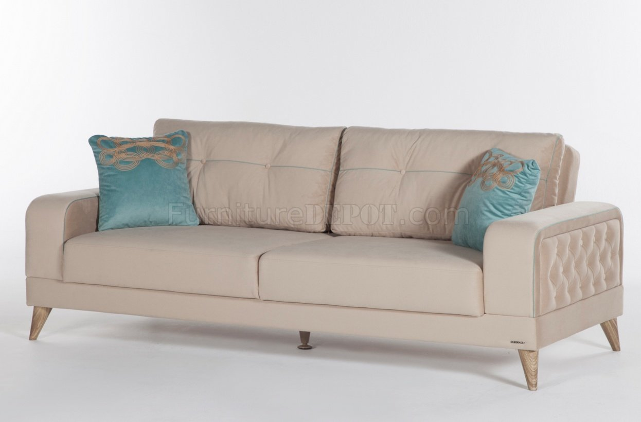 cream sectional sofa fabric royal blue cover vienza lilyum bed in by istikbal w options