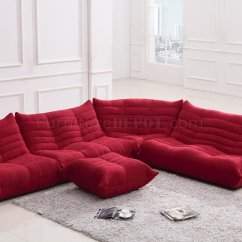 Red Sectional Sofa Slim Fabric Modern W Ottoman