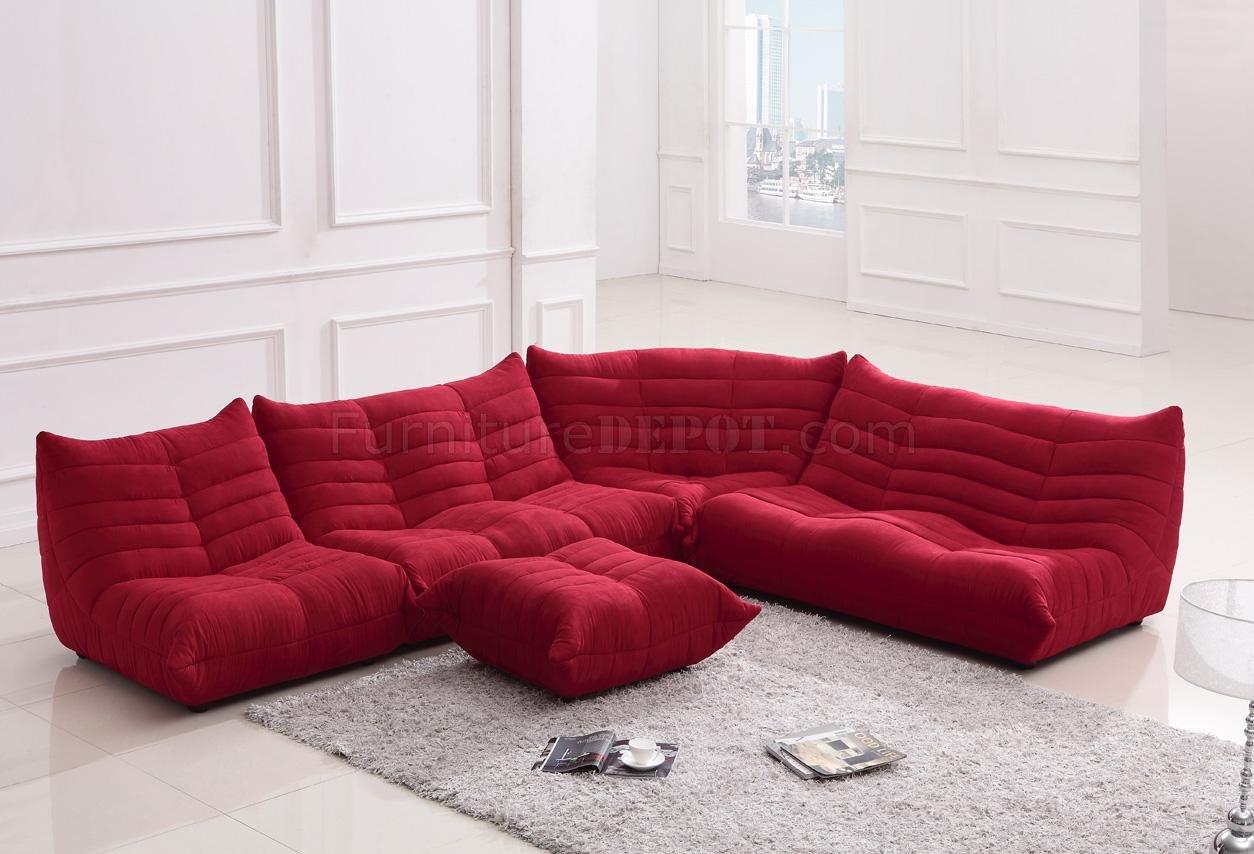 red sofa sectional hamilton chantilly fabric modern w ottoman