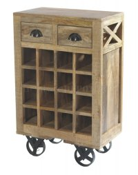 Amara 6481 Wooden Wine Cart with Rack on Wheels by Homelegance